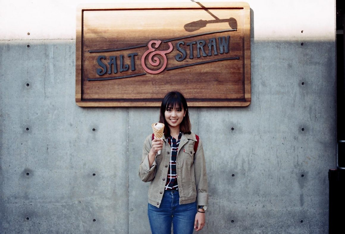 Girl standing with Salt and Straw icecream in Portland