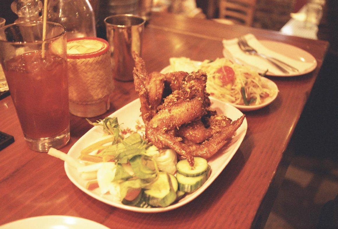 Vietnamese fish sauce chicken wings and papaya salad at Pok Pok in Portland