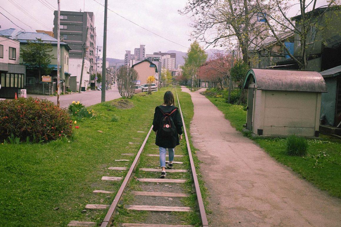 Girl at Temiya Railway Line